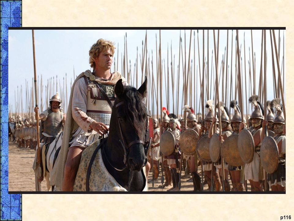 Alexander (Colin Farrell) reviews his troops before the Battle of Gaugamela.