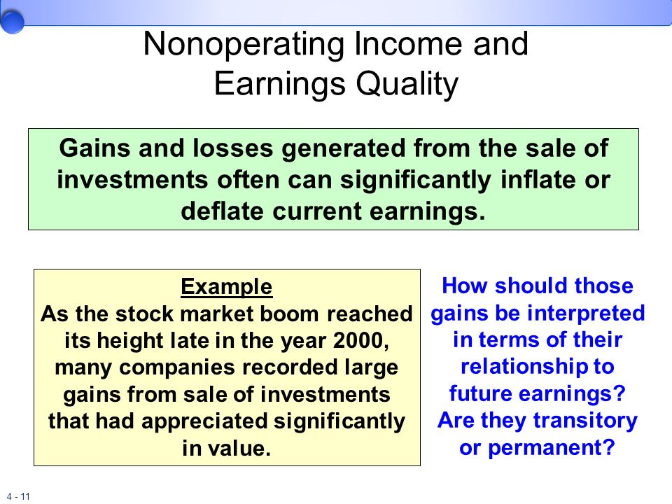 Nonoperating Income and Earnings Quality