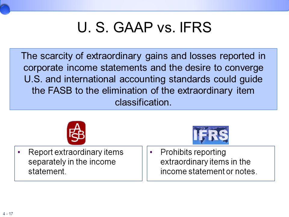 the FASB to the elimination of the extraordinary item classification.