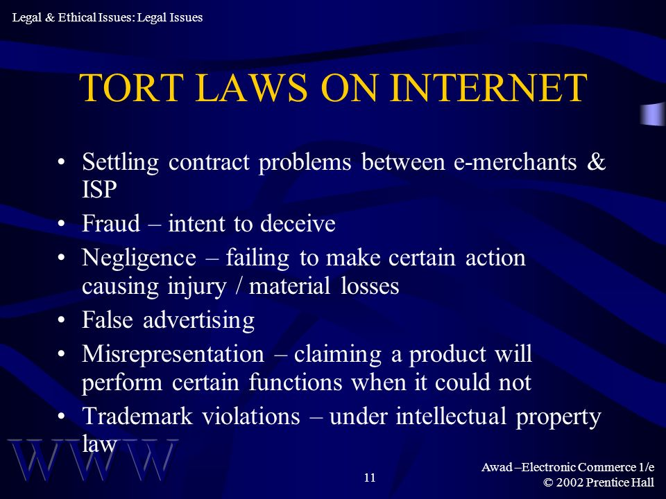 Legal & Ethical Issues: Legal Issues