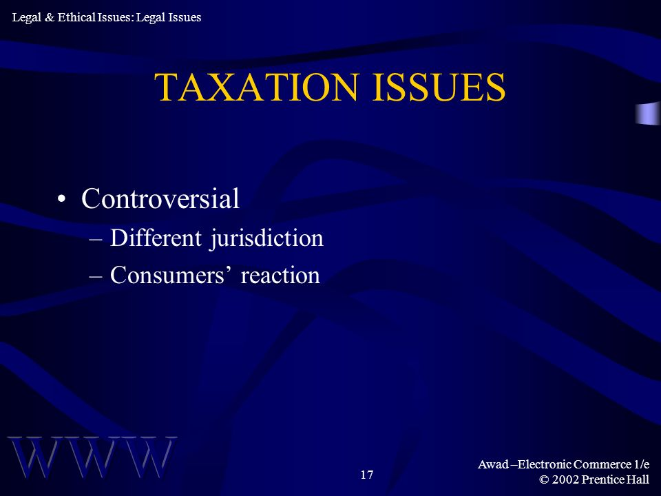 TAXATION ISSUES Controversial Different jurisdiction