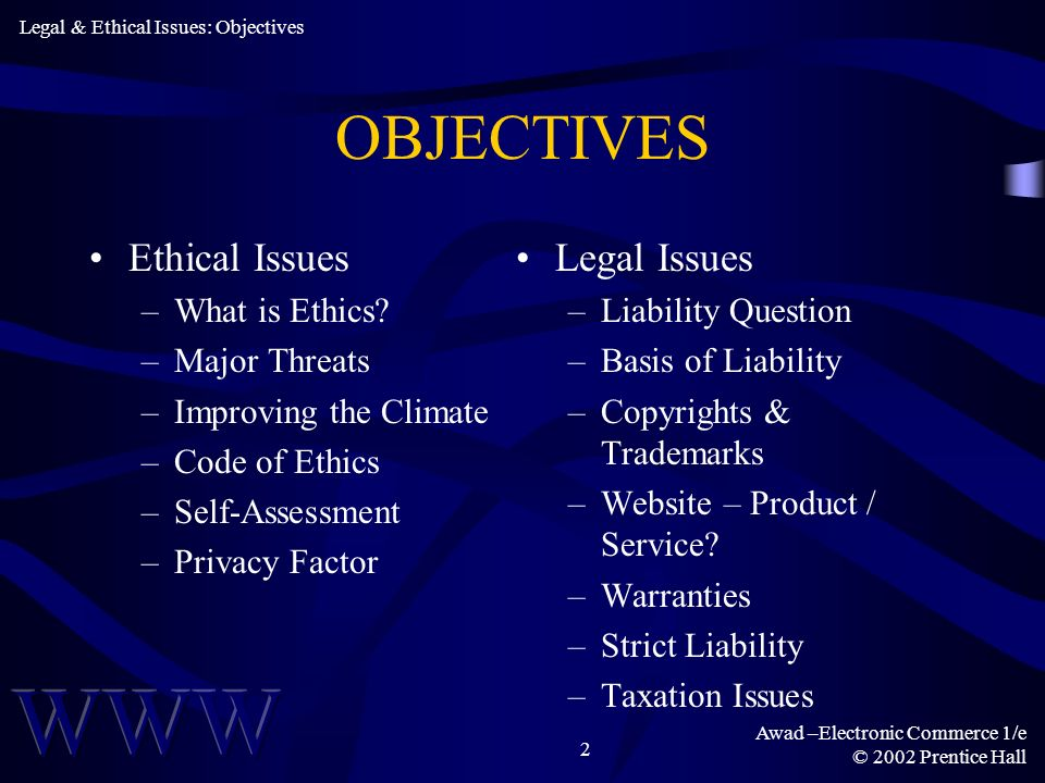 OBJECTIVES Ethical Issues Legal Issues What is Ethics Major Threats