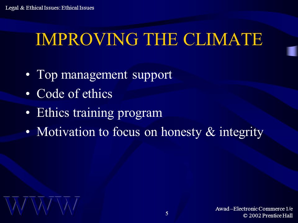 IMPROVING THE CLIMATE Top management support Code of ethics