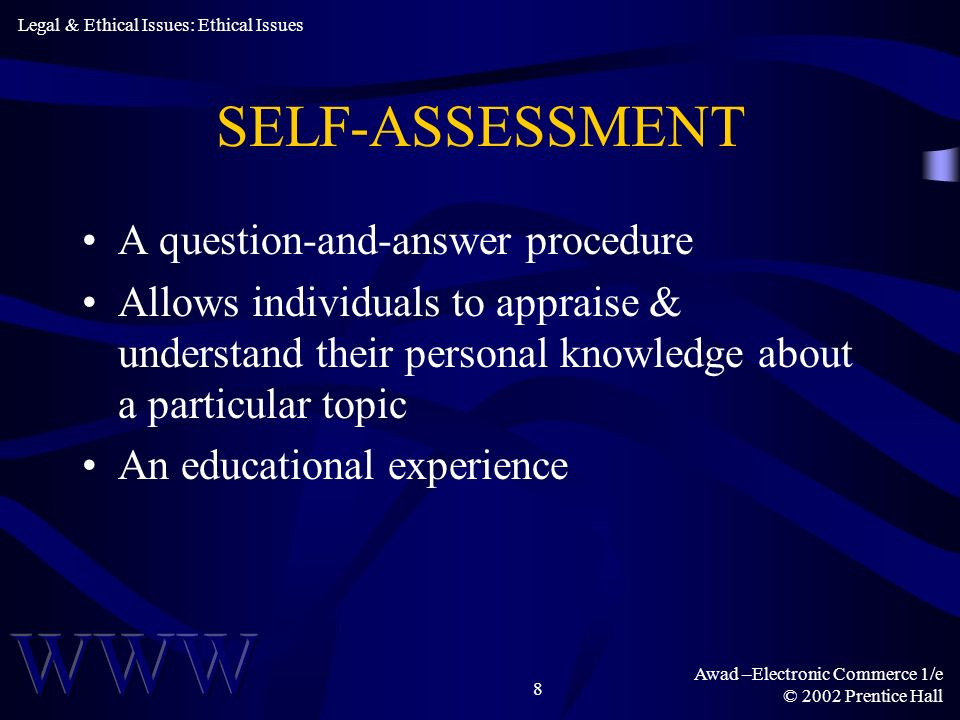 SELF-ASSESSMENT A question-and-answer procedure