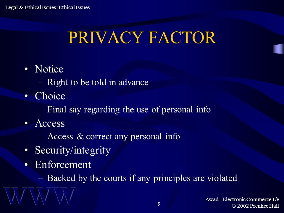 PRIVACY FACTOR Notice Choice Access Security/integrity Enforcement