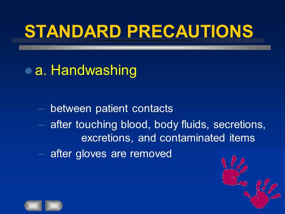 STANDARD PRECAUTIONS a. Handwashing between patient contacts