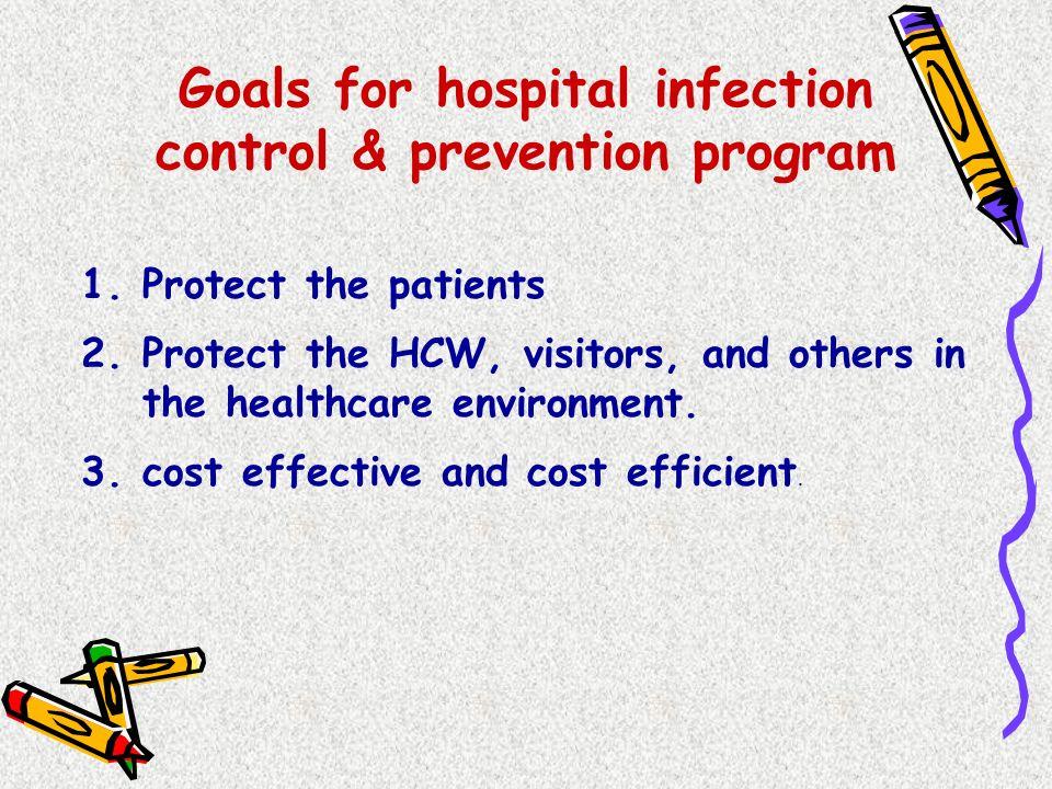 Goals for hospital infection control & prevention program