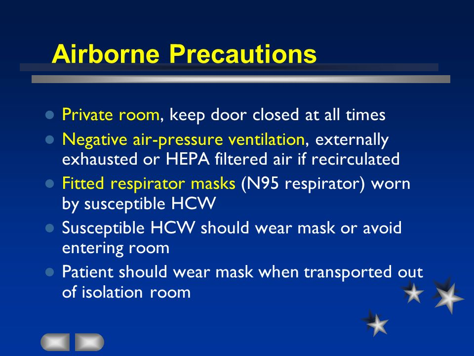 Airborne Precautions Private room, keep door closed at all times