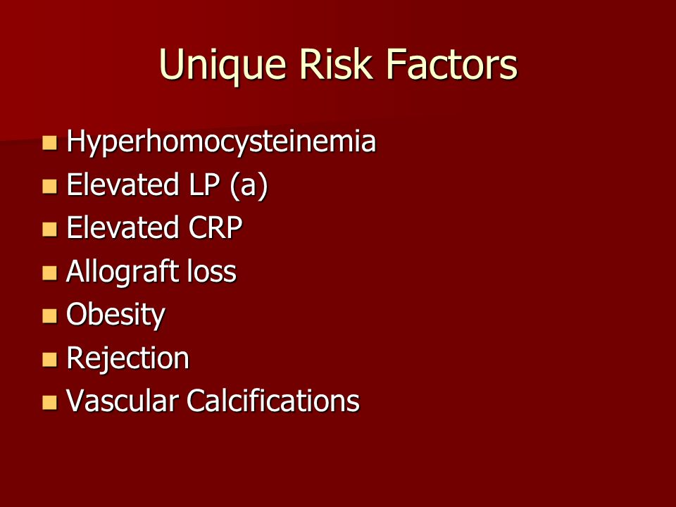 Unique Risk Factors Hyperhomocysteinemia Elevated LP (a) Elevated CRP