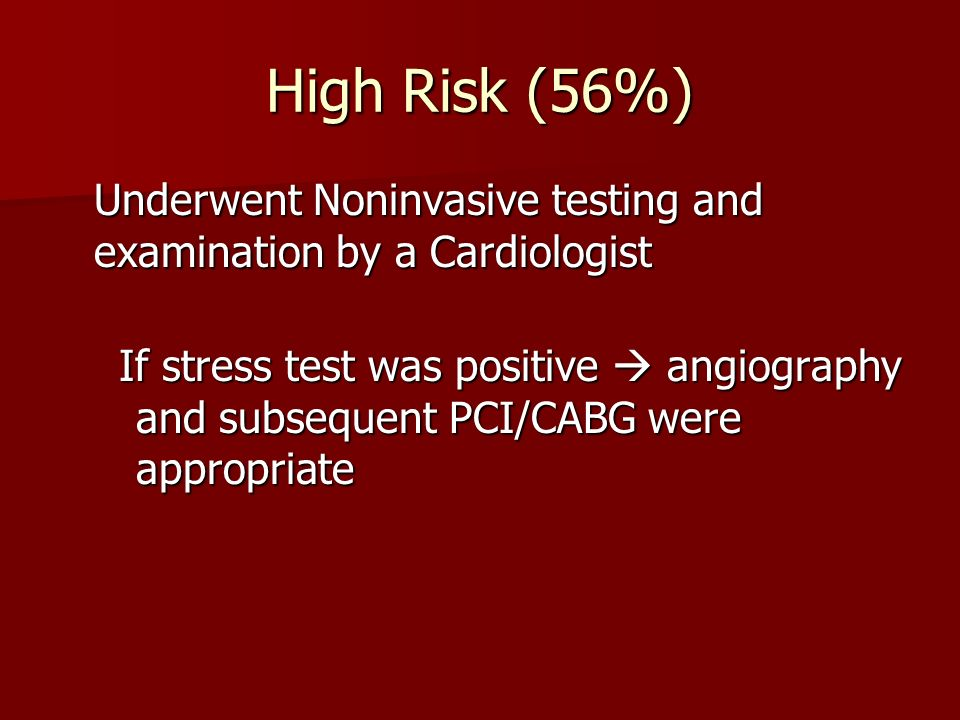 High Risk (56%)Underwent Noninvasive testing and examination by a Cardiologist.