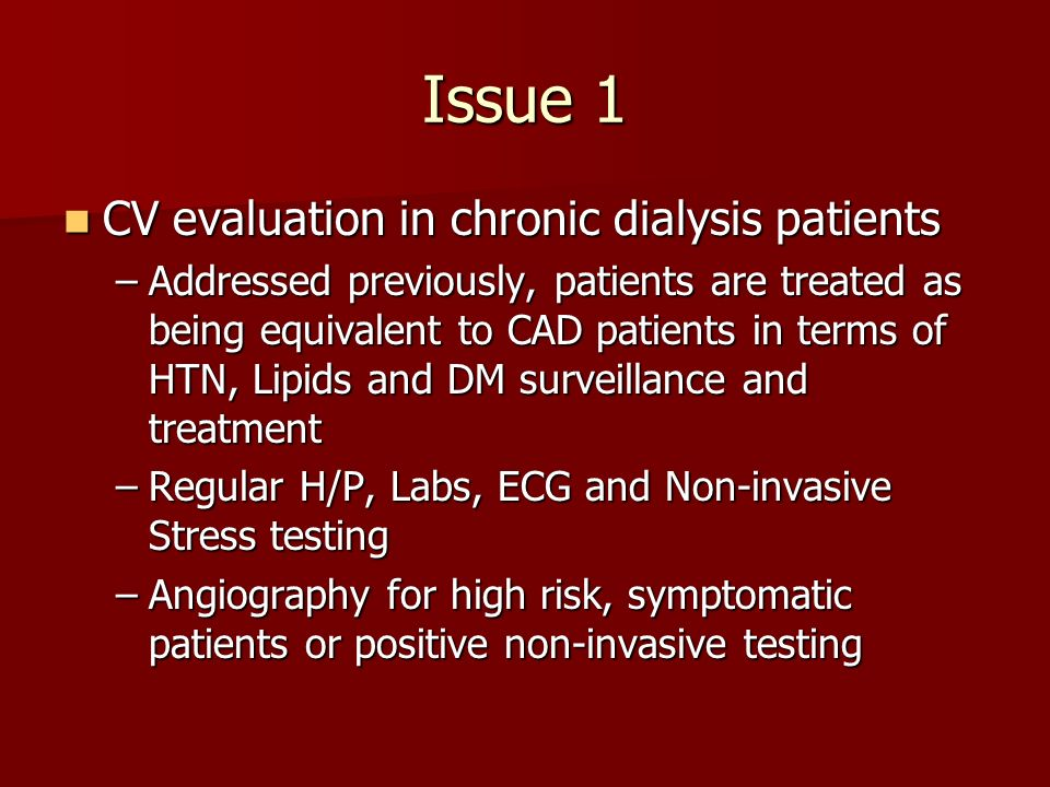 Issue 1 CV evaluation in chronic dialysis patients