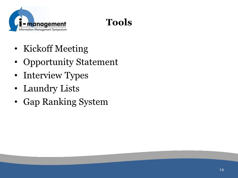 Tools Kickoff Meeting Opportunity Statement Interview Types Laundry Lists Gap Ranking System