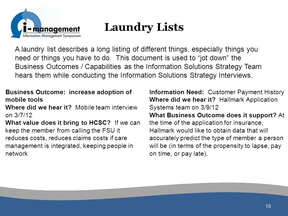 Laundry Lists