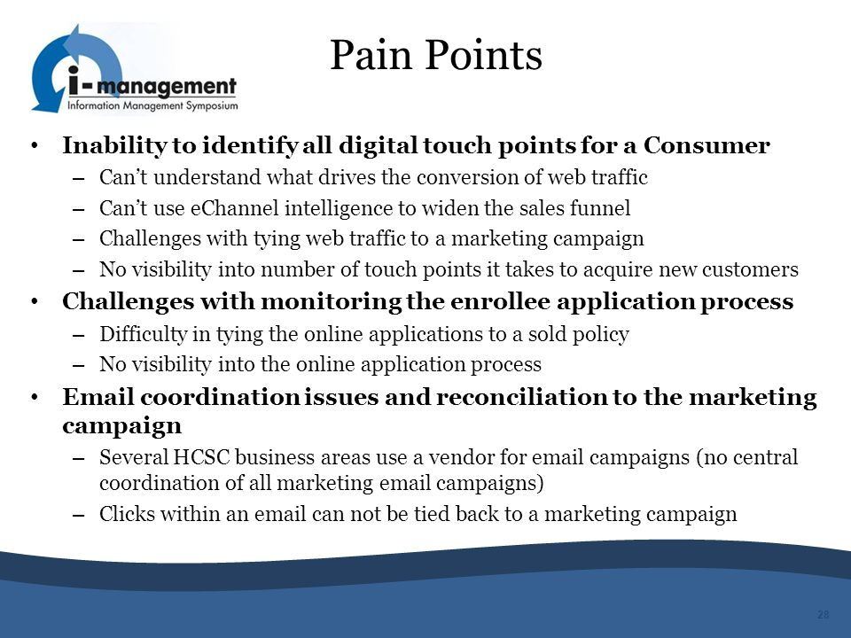 Pain Points Inability to identify all digital touch points for a Consumer. Can't understand what drives the conversion of web traffic.