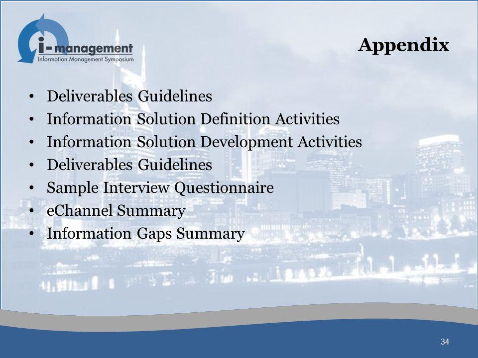 Appendix Deliverables Guidelines