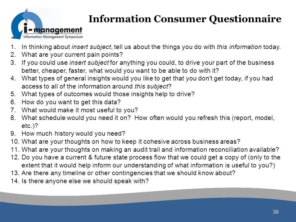 Information Consumer Questionnaire