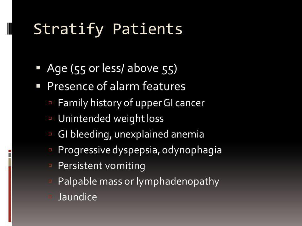 Stratify Patients Age (55 or less/ above 55)