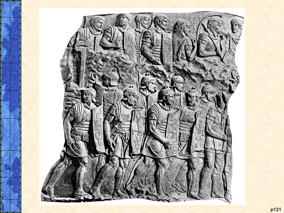 Roman Legionaries. The Roman legionaries, famed for their courage and tenacity, made possible Roman domination of the Mediterranean Sea. At the time of the Punic Wars, a Roman legionary wore chain-mail armor and a plumed helmet and carried an oval shield, as in the bronze statue from the second or first century B.C.E. shown at the left. Heavy javelins and swords were their major weapons. This equipment remained standard until the time of Julius Caesar. The illustration on the right shows a Roman legion on the march from Trajan's column, erected in the second century C.E.