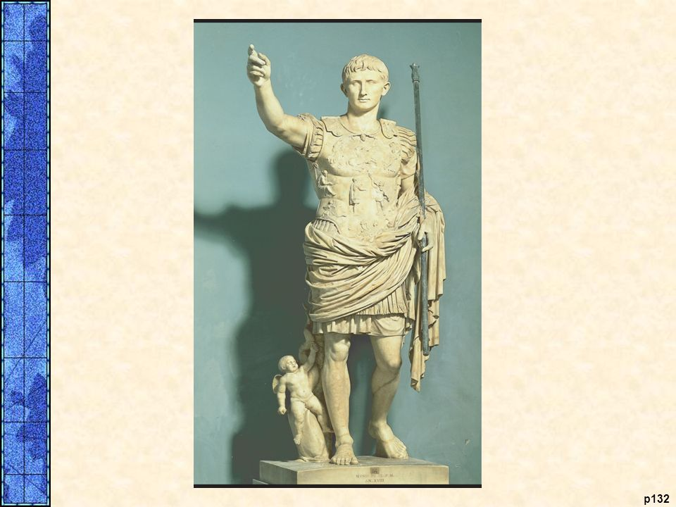 Augustus. Octavian, Caesar's adopted son, emerged victorious from the civil conflict that rocked the Republic after Caesar's assassination. The senate awarded him the title Augustus. This marble statue from Prima Porta, an idealized portrait, is based on Greek rather than Roman models. The statue was meant to be a propaganda piece, depicting a youthful general addressing his troops. At the bottom stands Cupid, the son of Venus, goddess of love, meant to be a reminder that the Julians, Caesar's family, claimed descent from Venus, thus emphasizing the ruler's divine background.