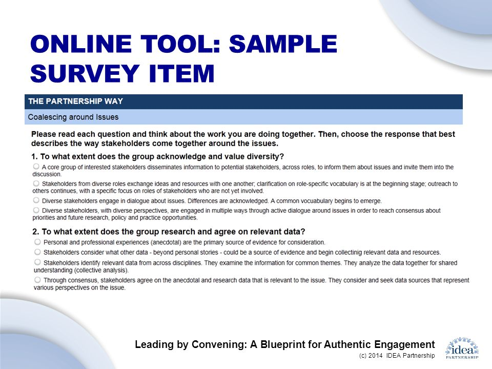 Online tool: sample survey item