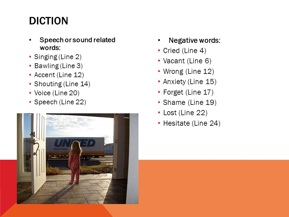 diction Negative words: Cried (Line 4) Vacant (Line 6) Wrong (Line 12)