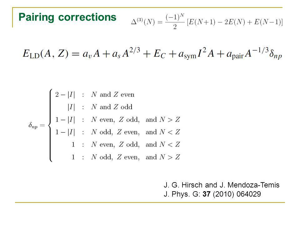 Pairing corrections J. G. Hirsch and J. Mendoza-Temis