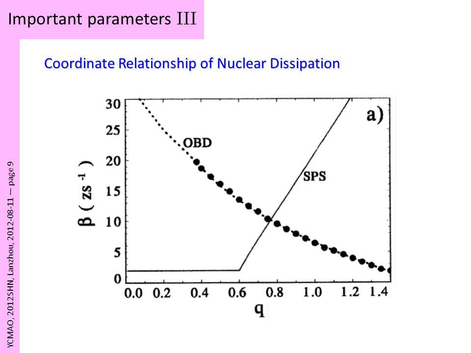 Important parameters III
