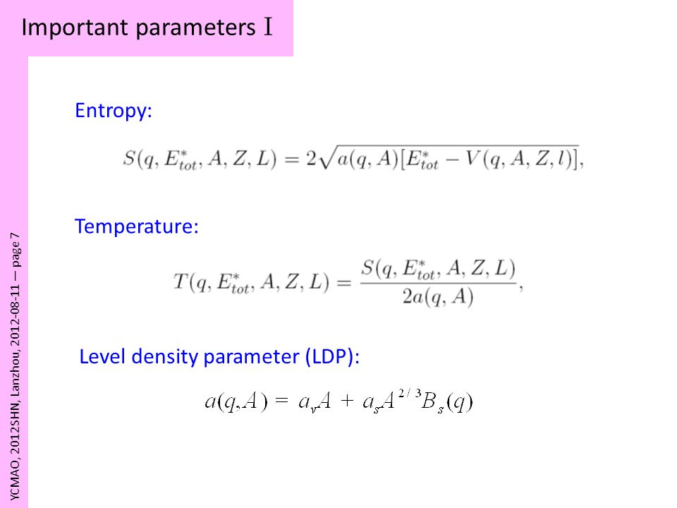 Important parameters I