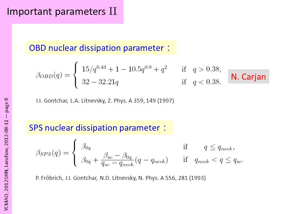 Important parameters II