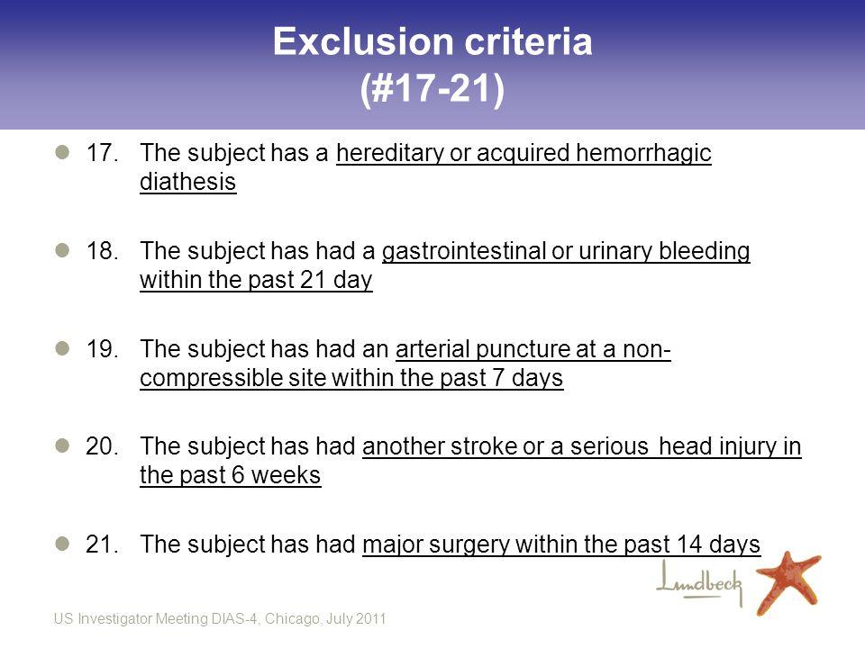 Exclusion criteria (#17-21)