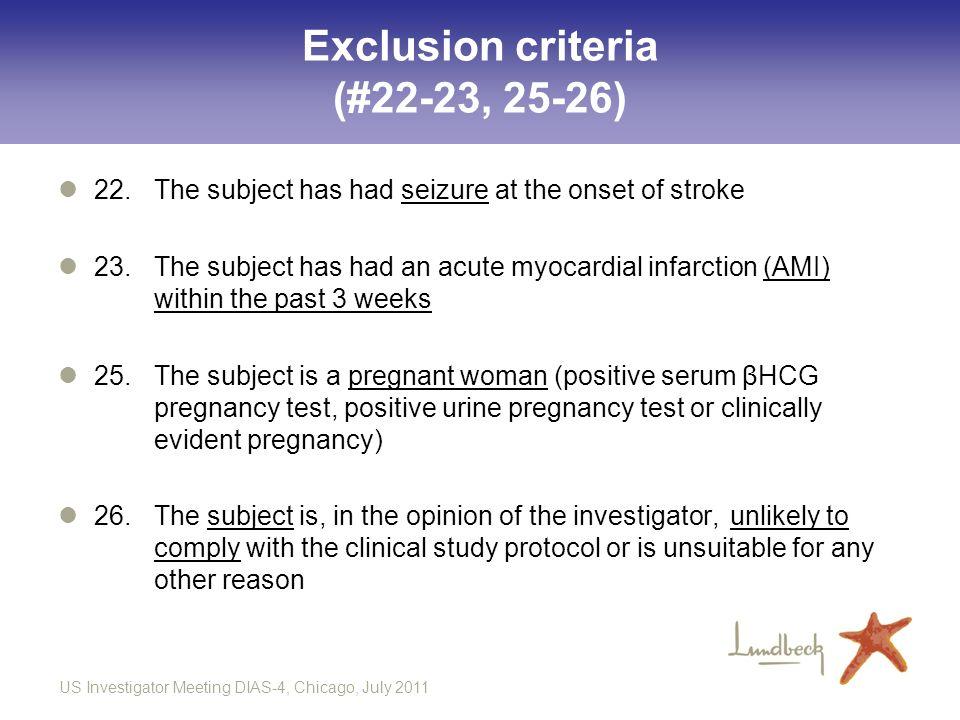 Exclusion criteria (#22-23, 25-26)