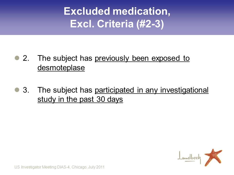 Excluded medication, Excl. Criteria (#2-3)