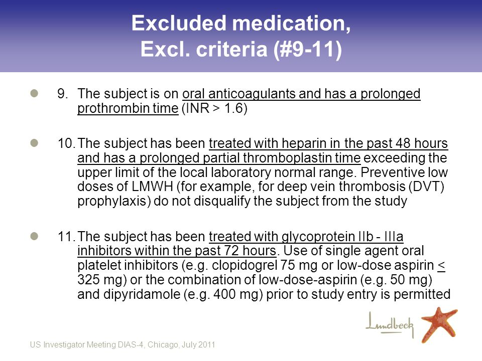 Excluded medication, Excl. criteria (#9-11)