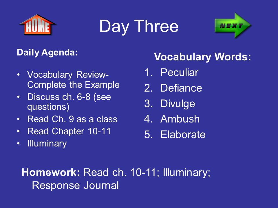 Day Three Vocabulary Words: Peculiar Defiance Divulge Ambush Elaborate
