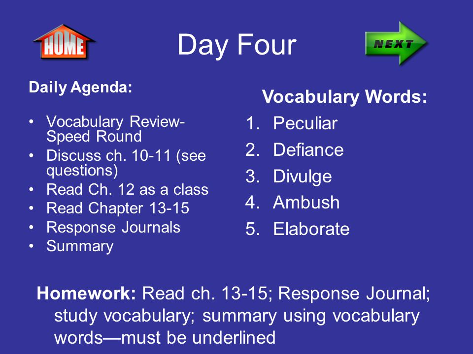 Day Four Vocabulary Words: Peculiar Defiance Divulge Ambush Elaborate