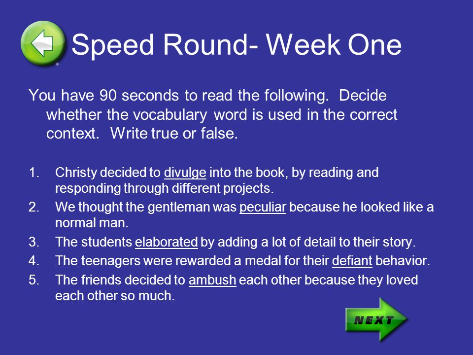 Speed Round- Week One