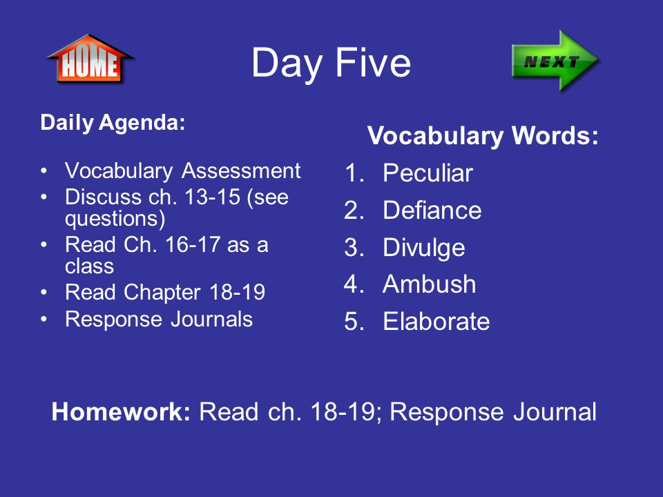 Day Five Vocabulary Words: Peculiar Defiance Divulge Ambush Elaborate
