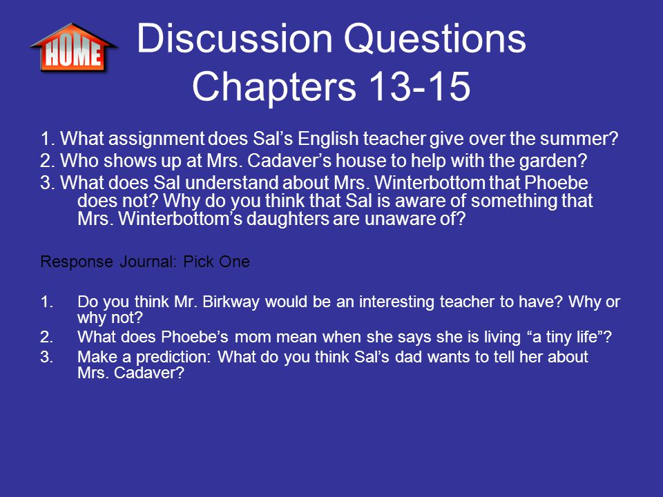 Discussion Questions Chapters 13-15