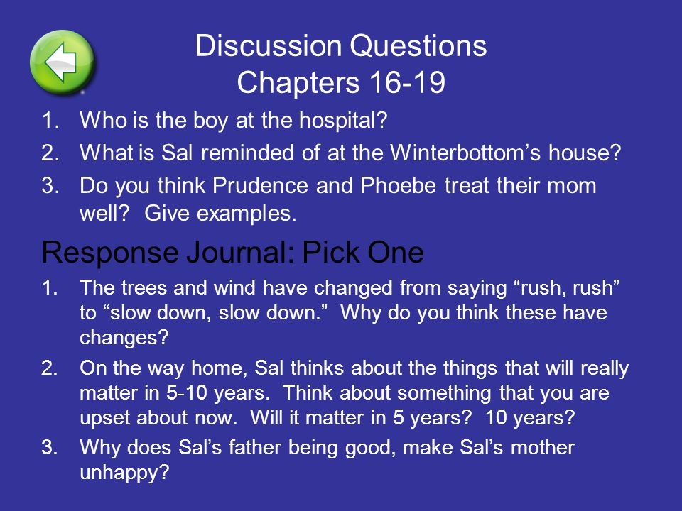 Discussion Questions Chapters 16-19