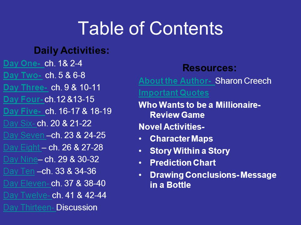 Table of Contents Daily Activities: Resources: Day One- ch. 1& 2-4