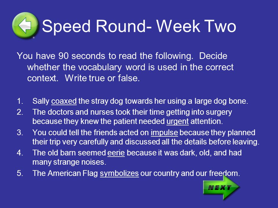 Speed Round- Week Two