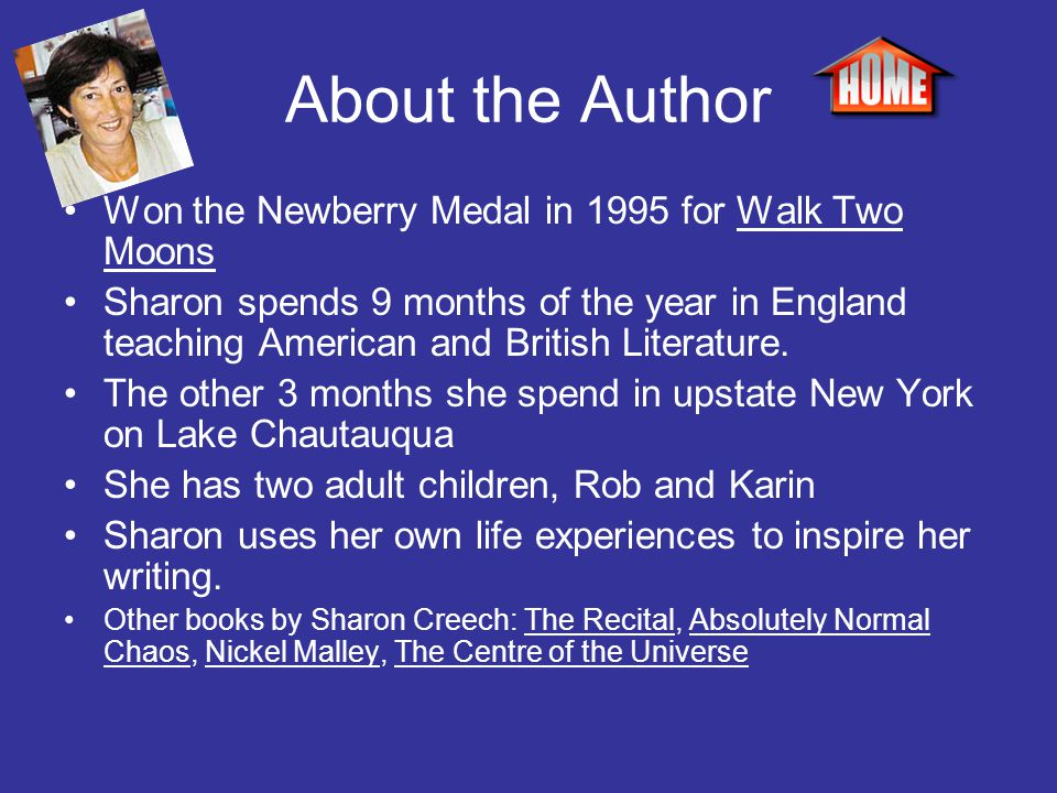 About the Author Won the Newberry Medal in 1995 for Walk Two Moons