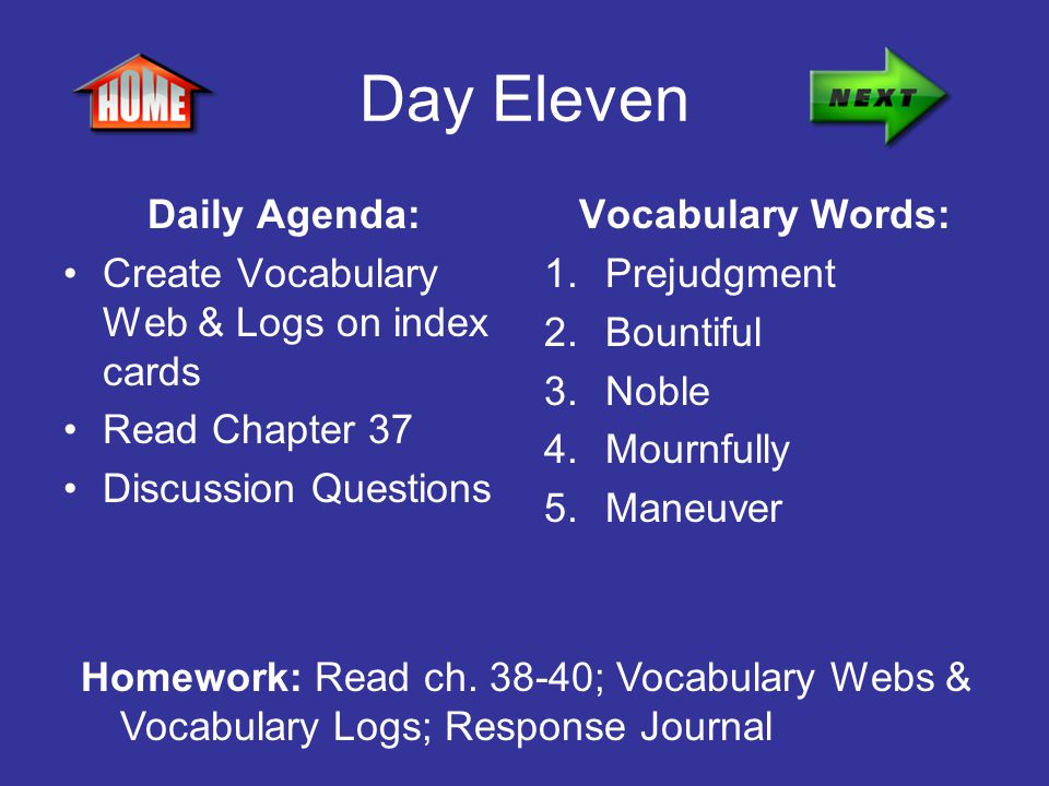 Day Eleven Daily Agenda: Create Vocabulary Web & Logs on index cards