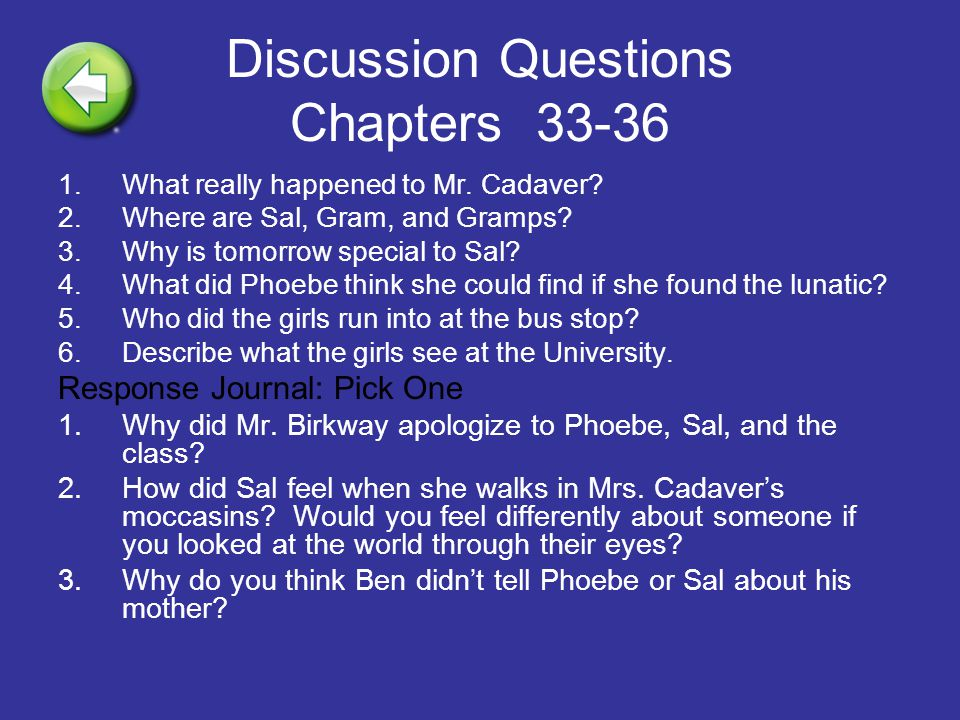 Discussion Questions Chapters 33-36