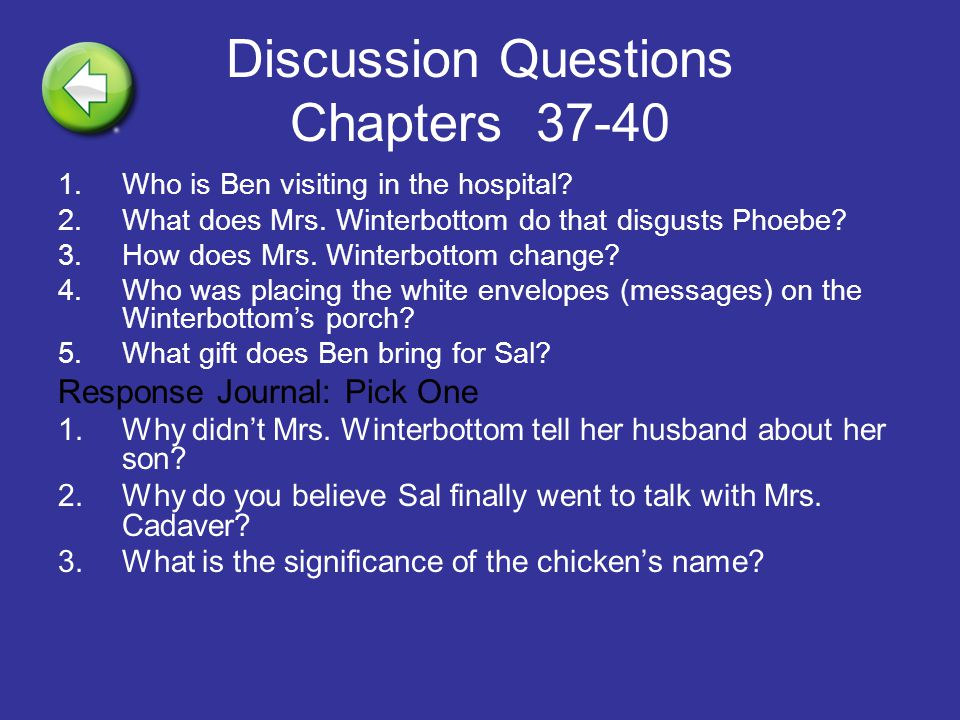 Discussion Questions Chapters 37-40
