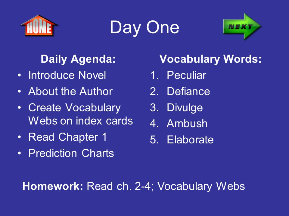 Day One Daily Agenda: Introduce Novel About the Author