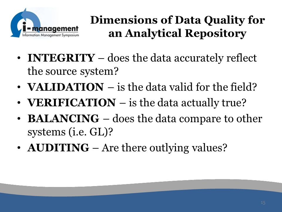 Dimensions of Data Quality for an Analytical Repository