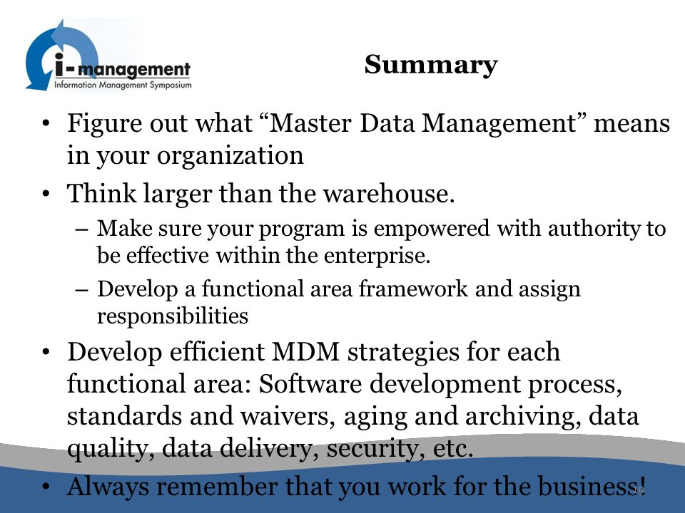 Figure out what Master Data Management means in your organization