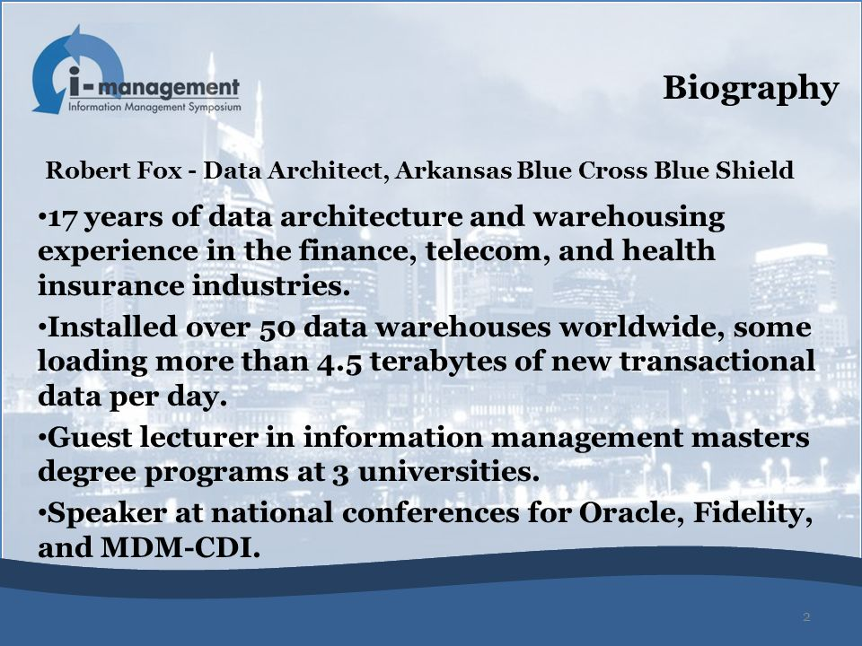 Speaker at national conferences for Oracle, Fidelity, and MDM-CDI.