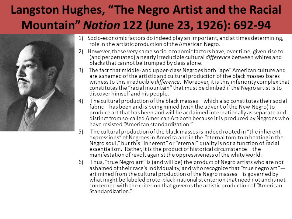Langston Hughes, The Negro Artist and the Racial Mountain Nation 122 (June 23, 1926): 692-94